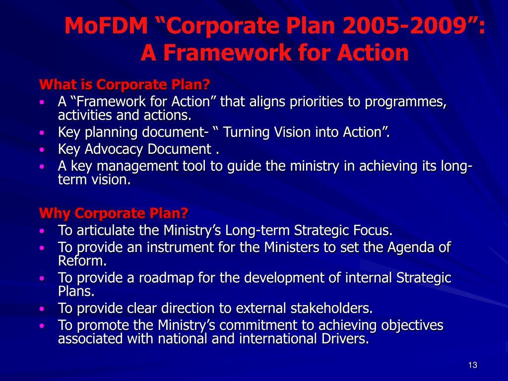 """MoFDM """"Corporate Plan 2005-2009"""":"""