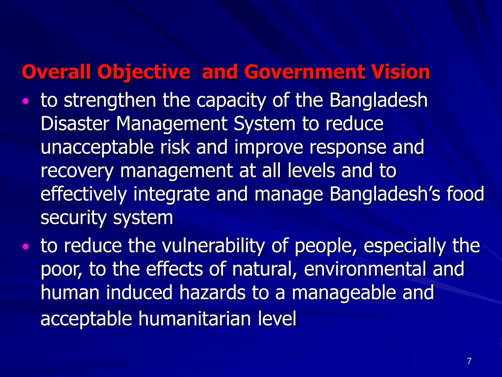 Overall Objective  and Government Vision