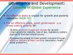 governance and development lessons of global experience