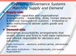 improving governance systems matching supply and demand