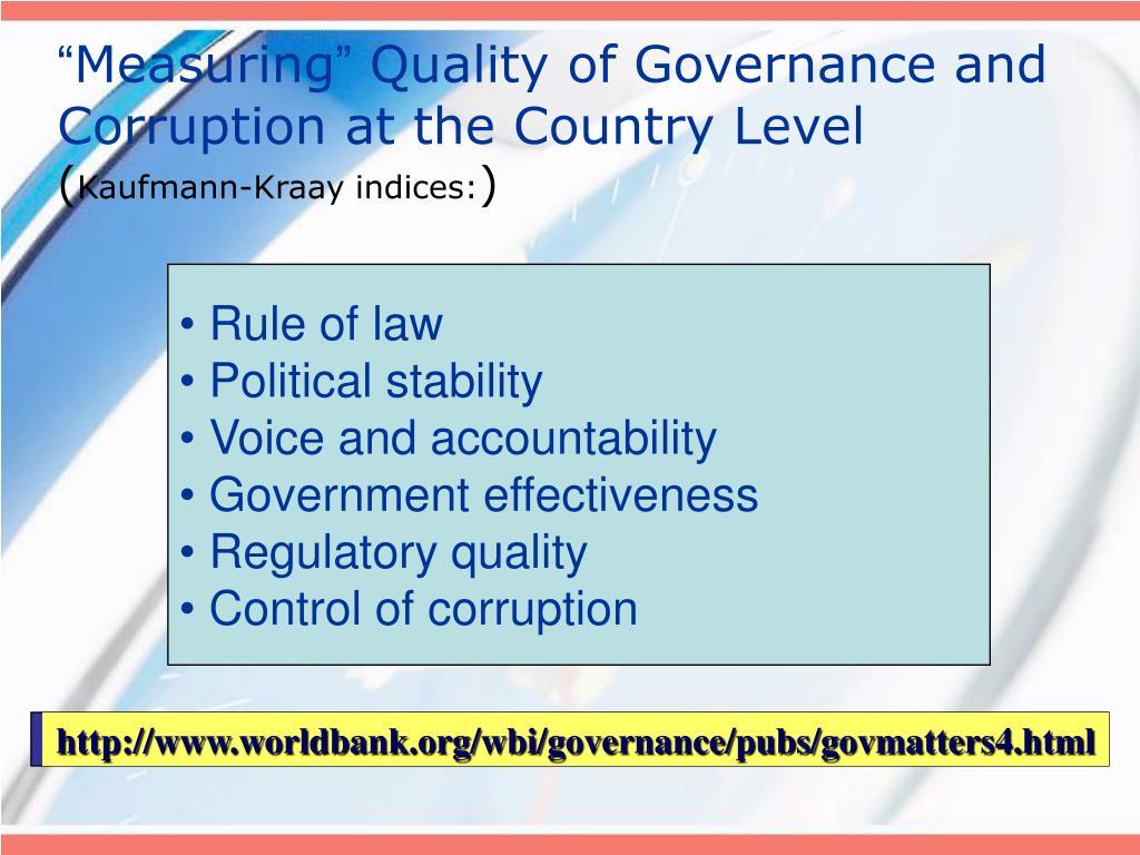 http://www.worldbank.org/wbi/governance/pubs/govmatters4.html