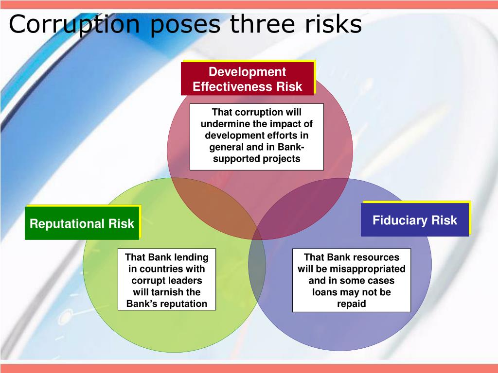 Corruption poses three risks