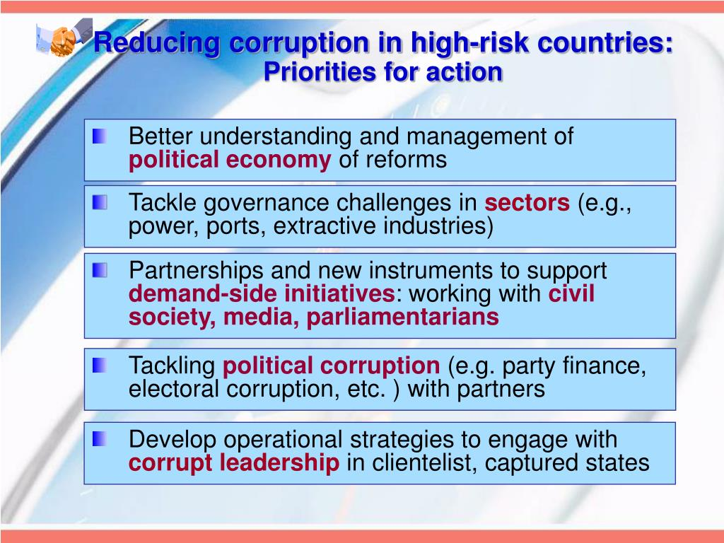 Reducing corruption in high-risk countries: