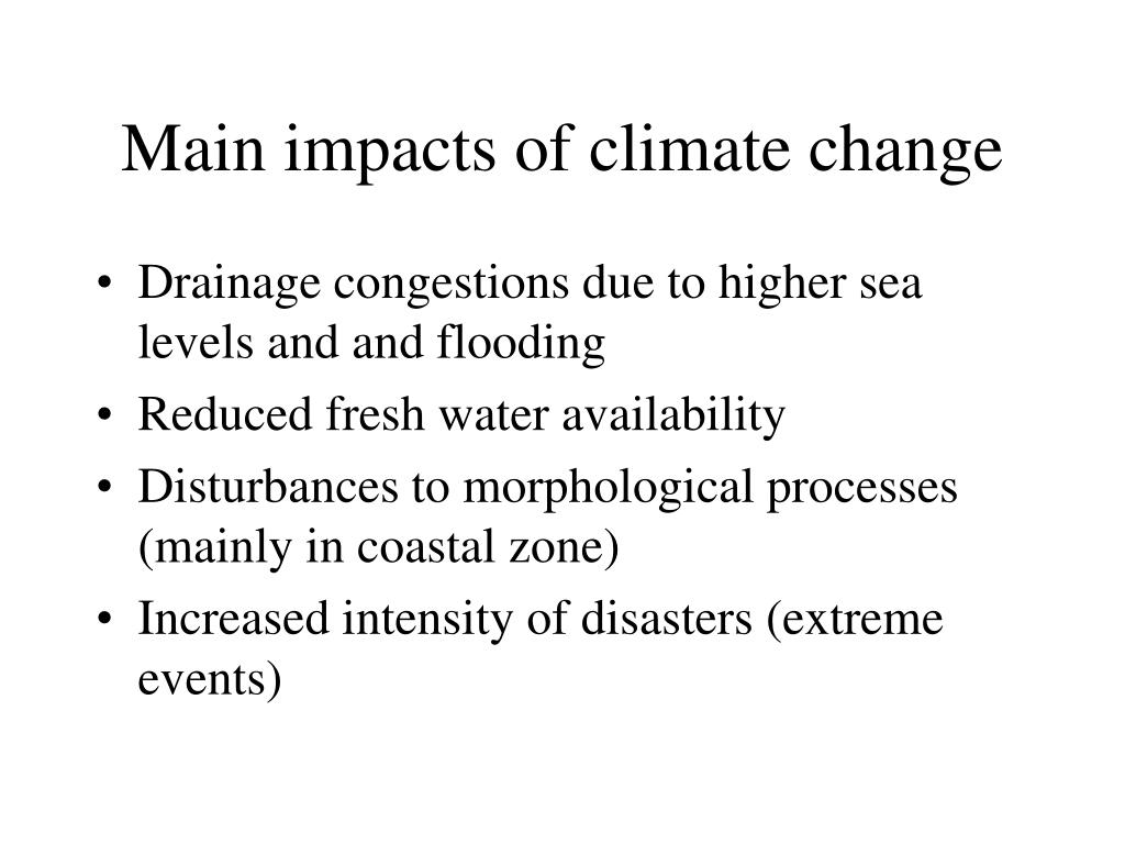 Main impacts of climate change