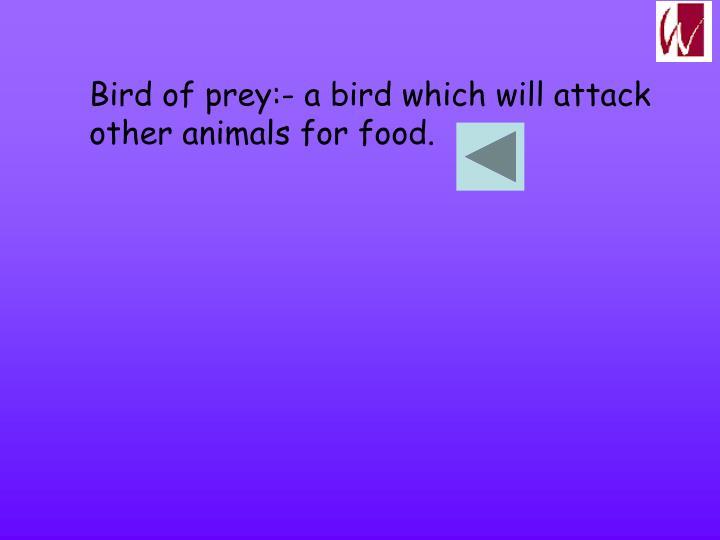 Bird of prey:- a bird which will attack
