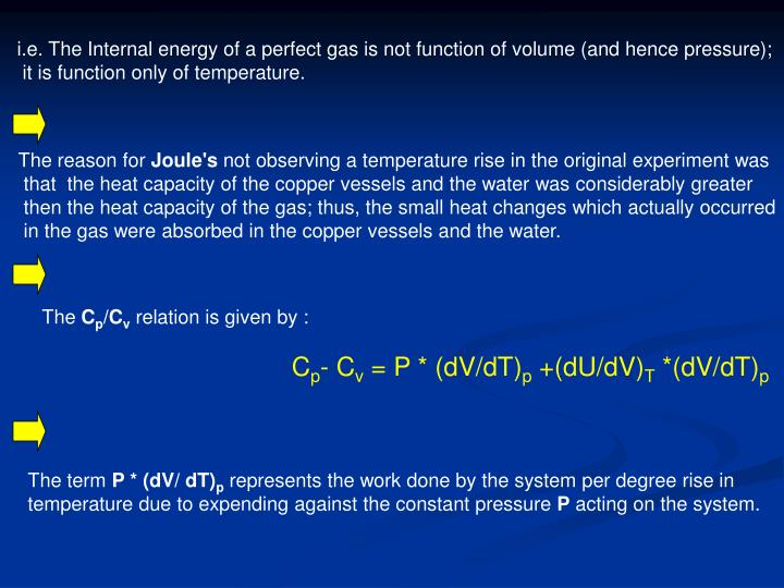 i.e. The Internal energy of a perfect gas is not function of volume (and hence pressure);
