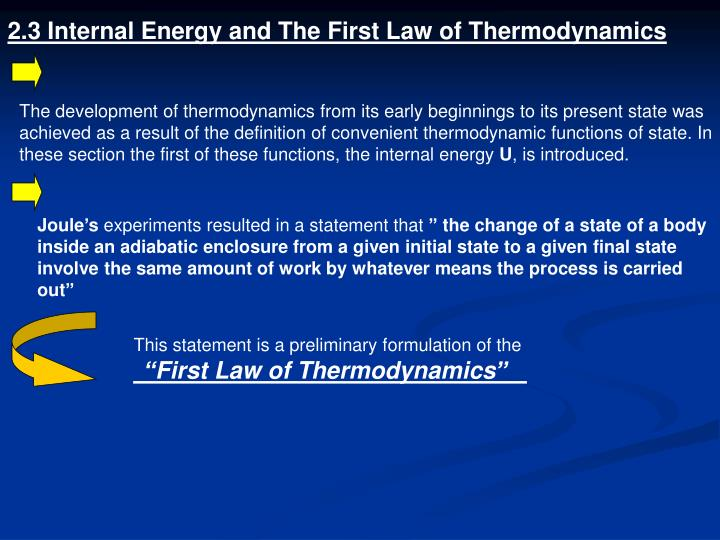 2.3 Internal Energy and The First Law of Thermodynamics
