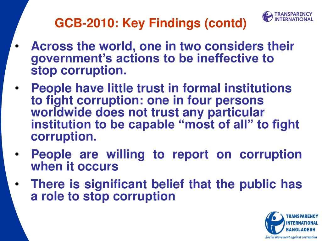 GCB-2010: Key Findings (contd)