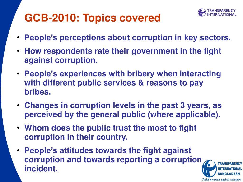 GCB-2010: Topics covered