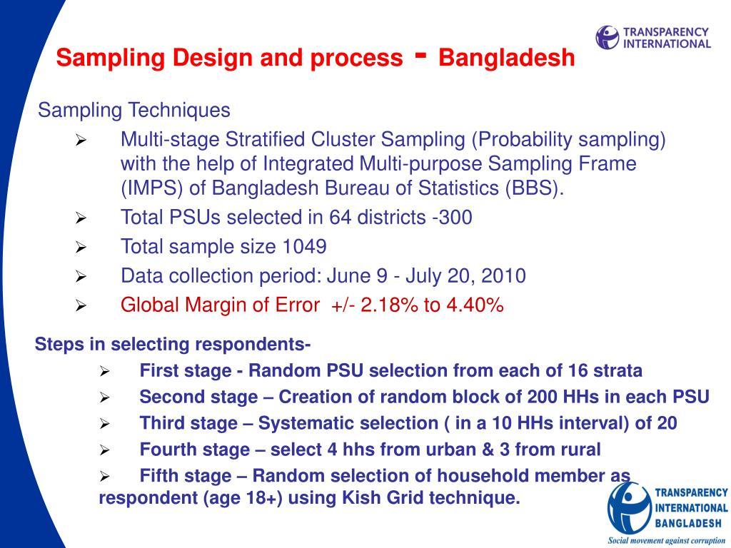 Sampling Design and process