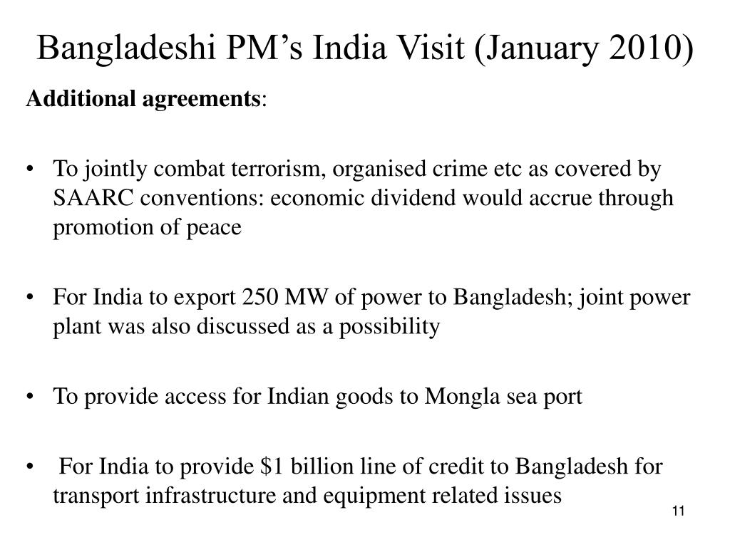 Bangladeshi PM's India Visit (January 2010)