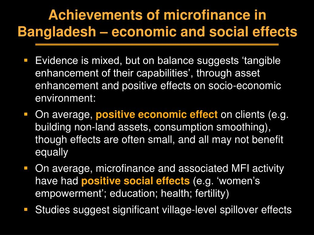 Achievements of microfinance in Bangladesh – economic and social effects