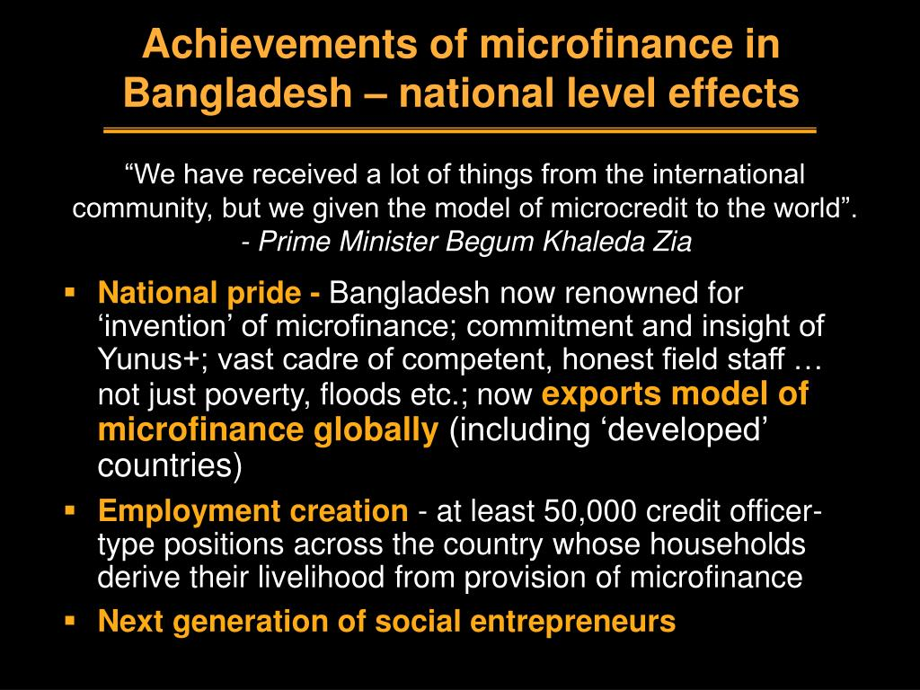 Achievements of microfinance in Bangladesh – national level effects