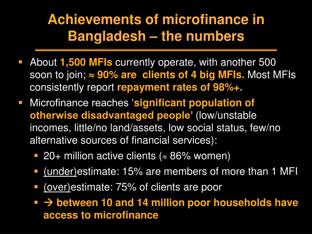 Achievements of microfinance in Bangladesh – the numbers