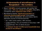 achievements of microfinance in bangladesh the numbers