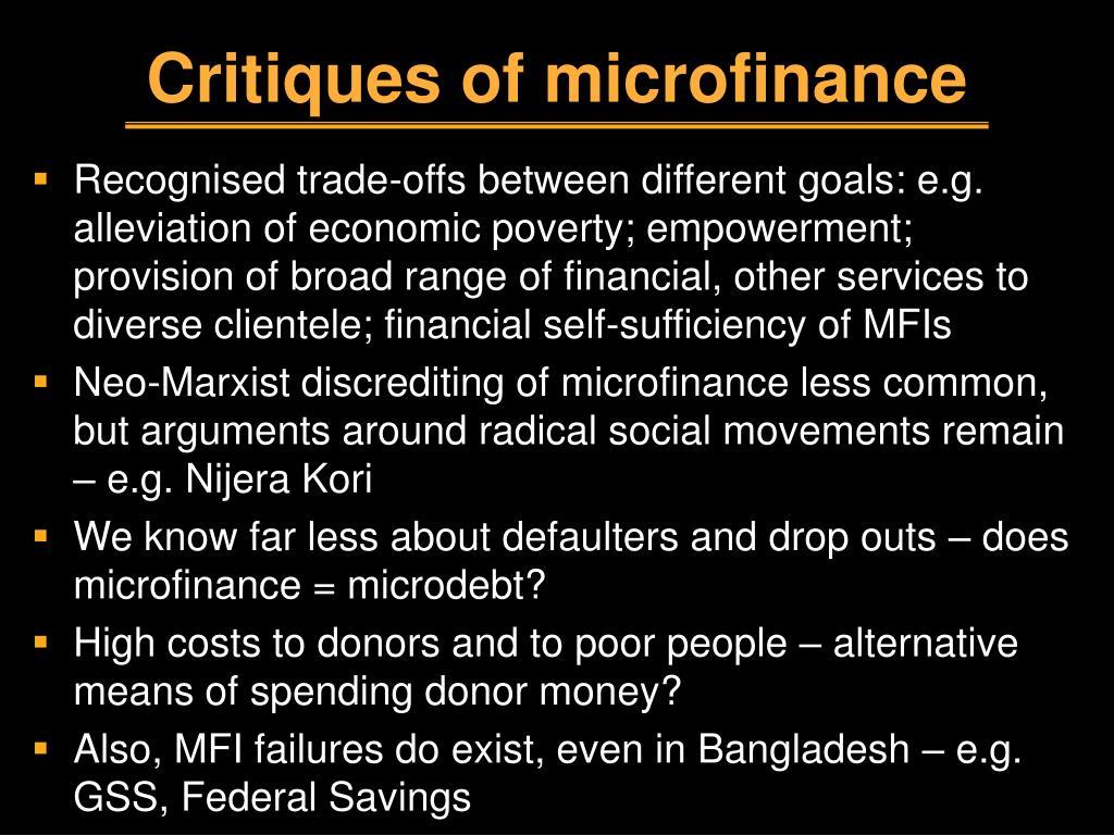 Critiques of microfinance