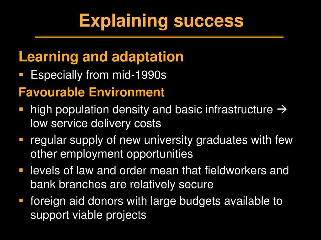 Explaining success