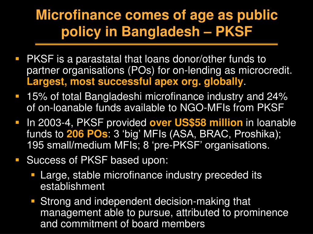 Microfinance comes of age as public policy in Bangladesh – PKSF