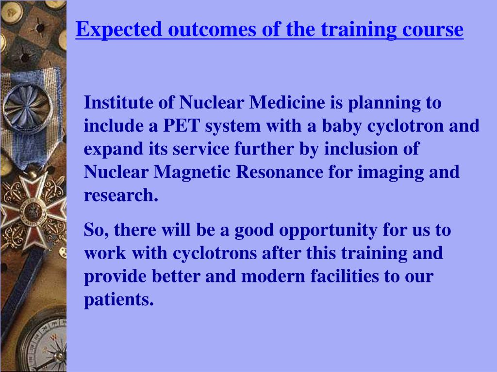 Expected outcomes of the training course