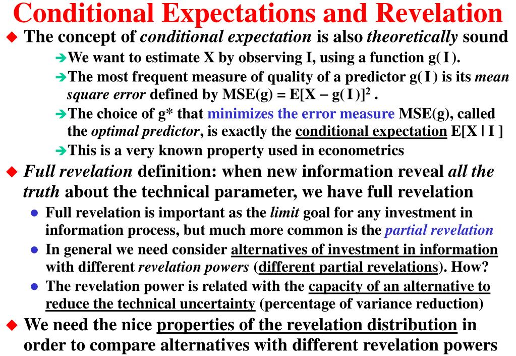 Conditional Expectations and Revelation