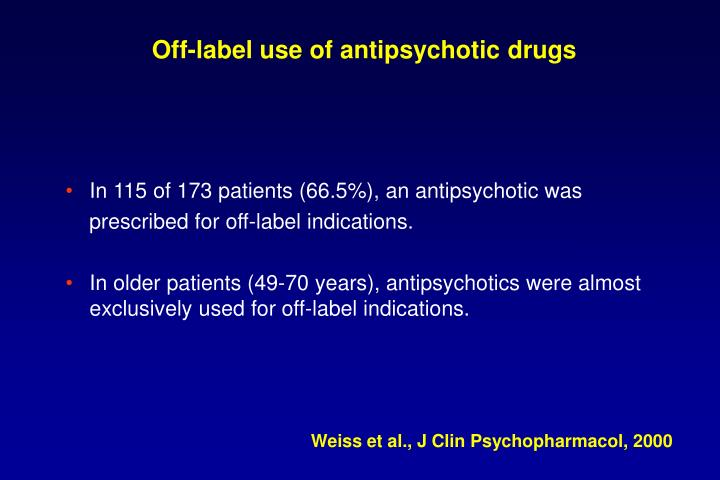 Off-label use of antipsychotic drugs