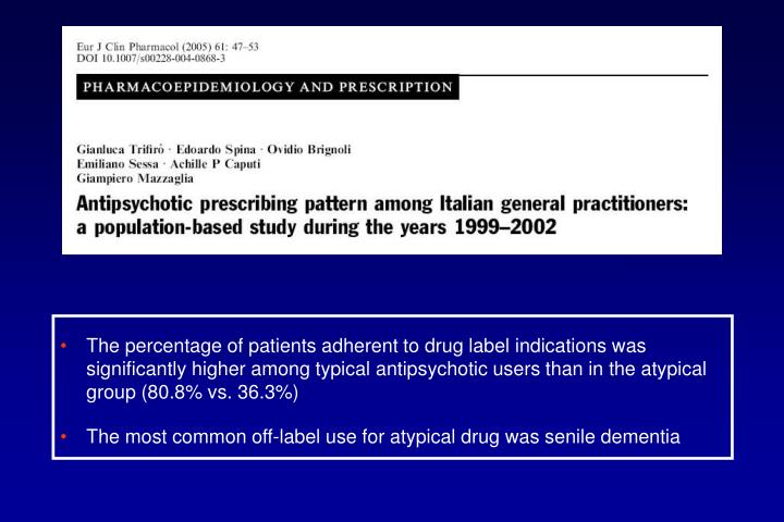 The percentage of patients adherent to drug label indications was significantly higher among typical antipsychotic users than in the atypical group (80.8% vs. 36.3%)