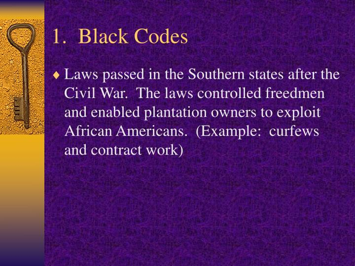 1.  Black Codes