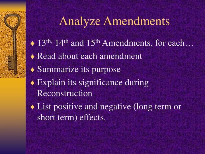Analyze Amendments