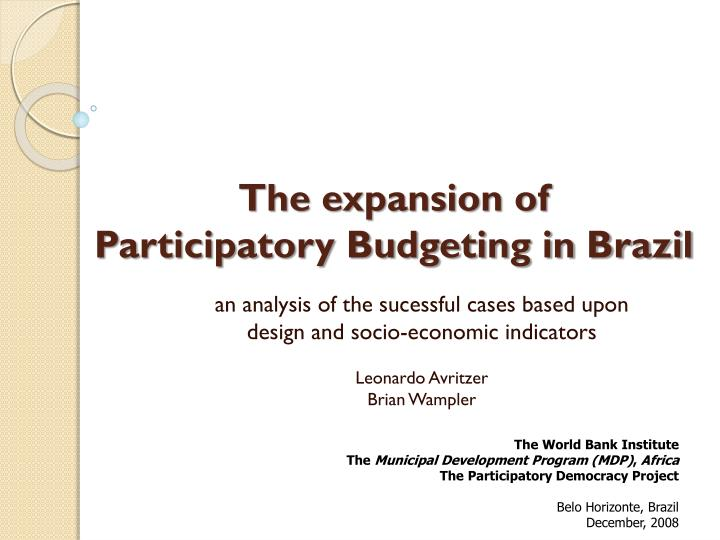 The expansion of participatory budgeting in brazil