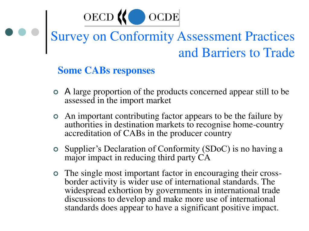 Survey on Conformity Assessment Practices and Barriers to Trade
