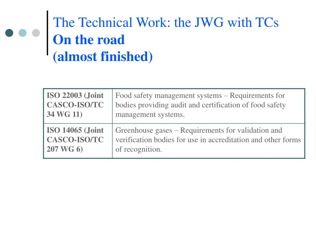 The Technical Work: the JWG with TCs