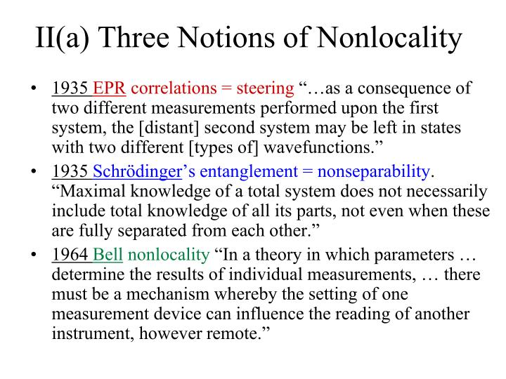 II(a) Three Notions of Nonlocality