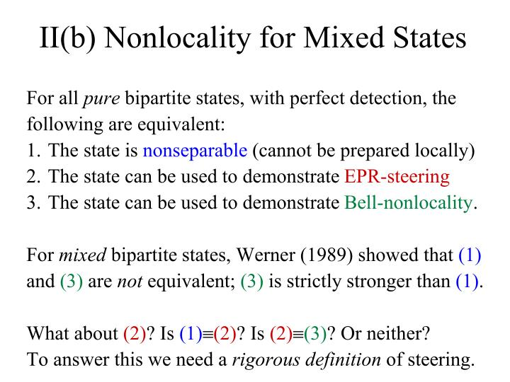 II(b) Nonlocality for Mixed States