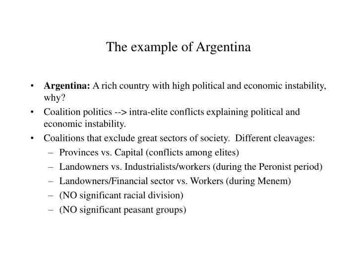 The example of argentina