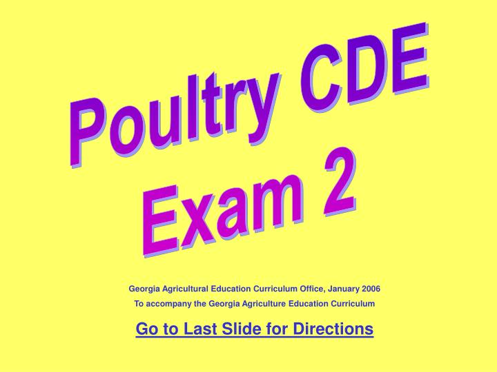 Poultry CDE