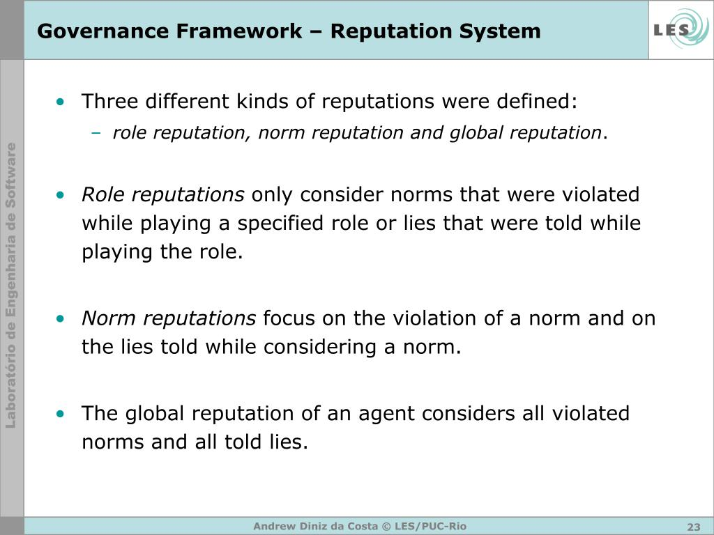 Governance Framework – Reputation System