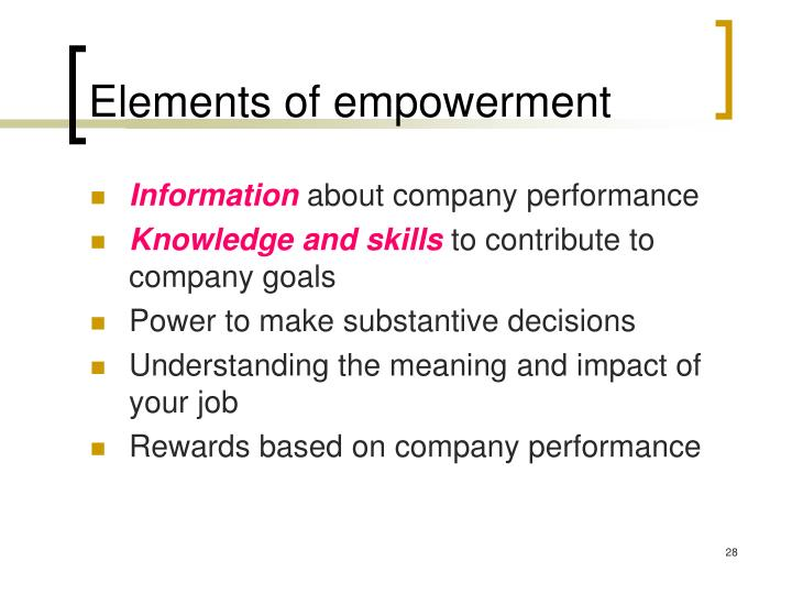 Elements of empowerment