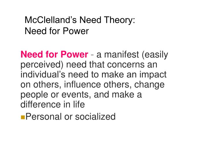 McClelland's Need Theory: