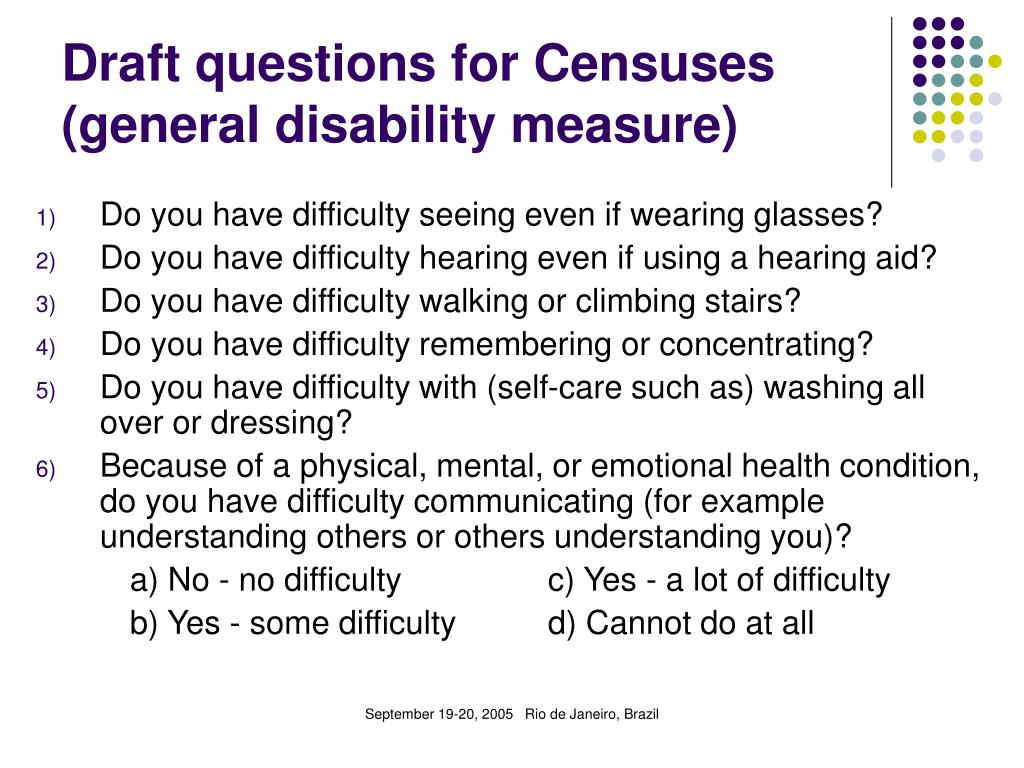 Draft questions for Censuses