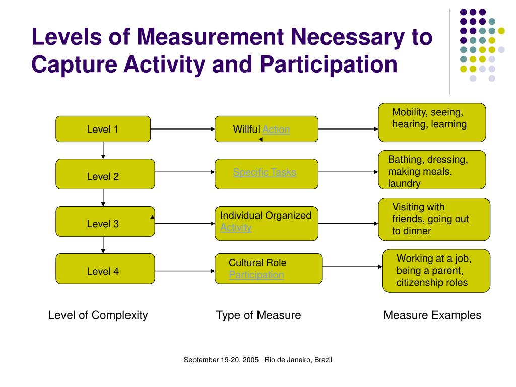 Levels of Measurement Necessary to Capture Activity and Participation