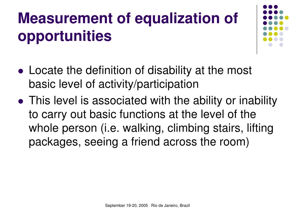 Measurement of equalization of opportunities