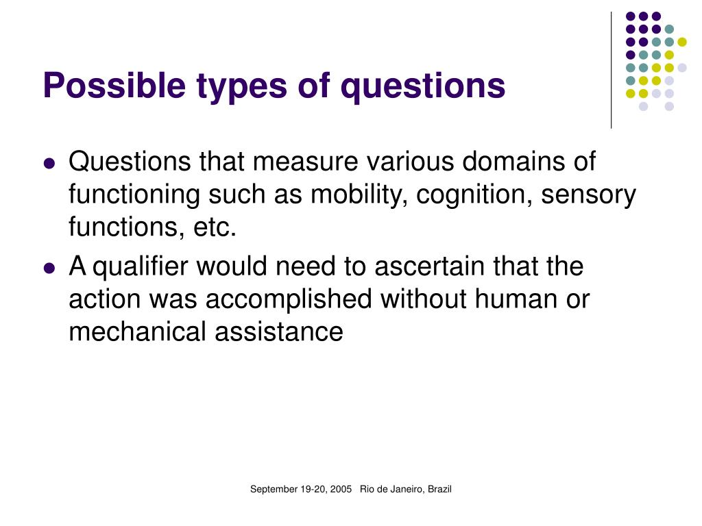 Possible types of questions