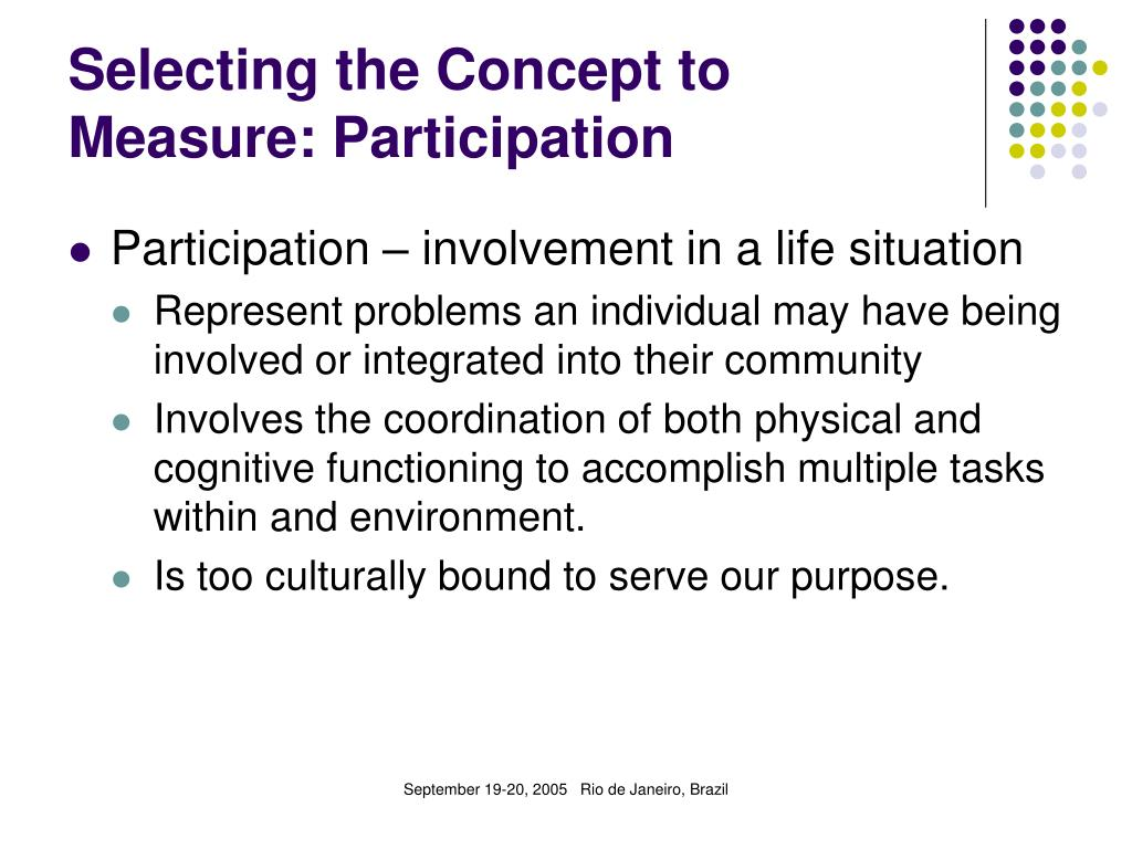 Selecting the Concept to Measure: Participation