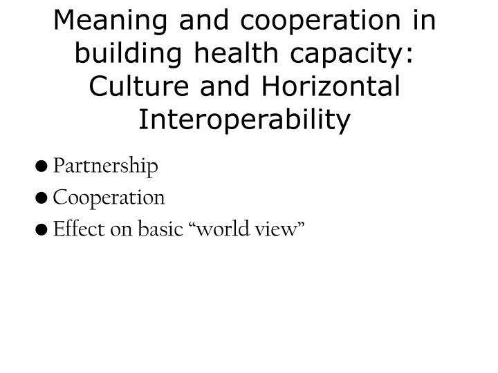 Meaning and cooperation in building health capacity: Culture and Horizontal Interoperability