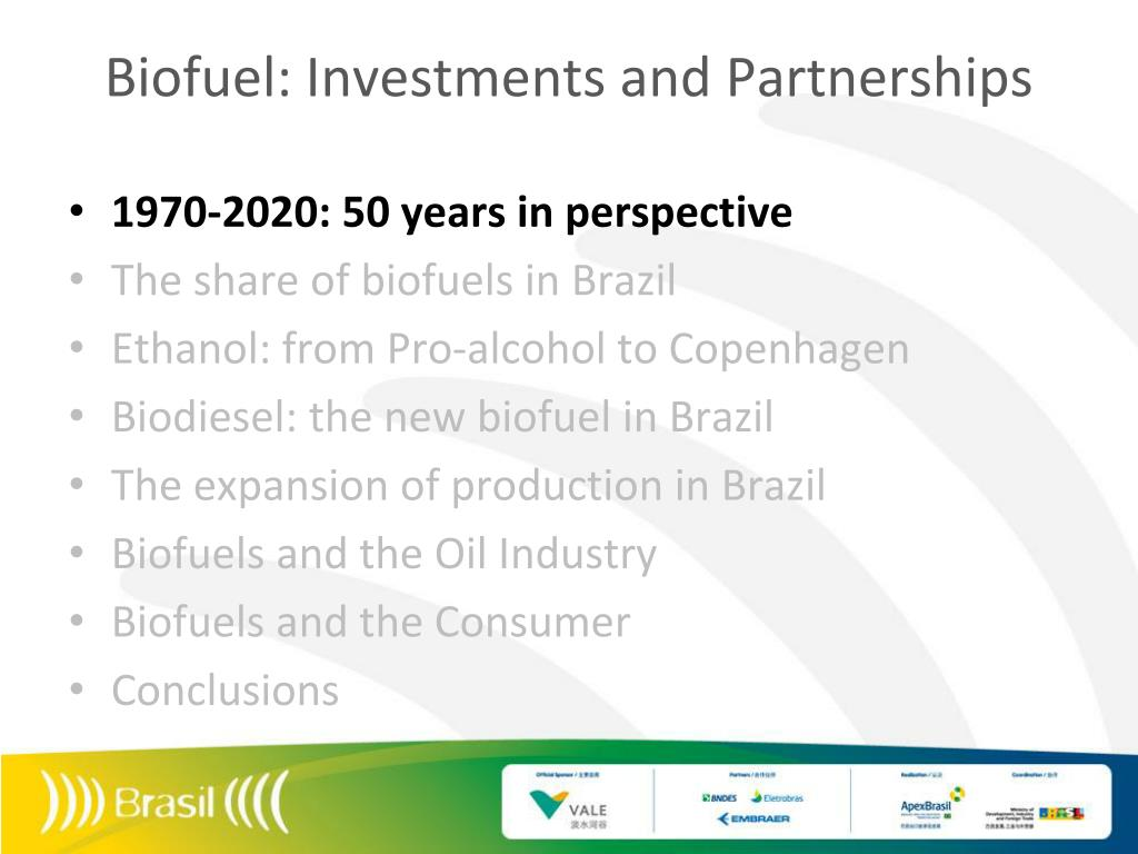 Biofuel: Investments and Partnerships