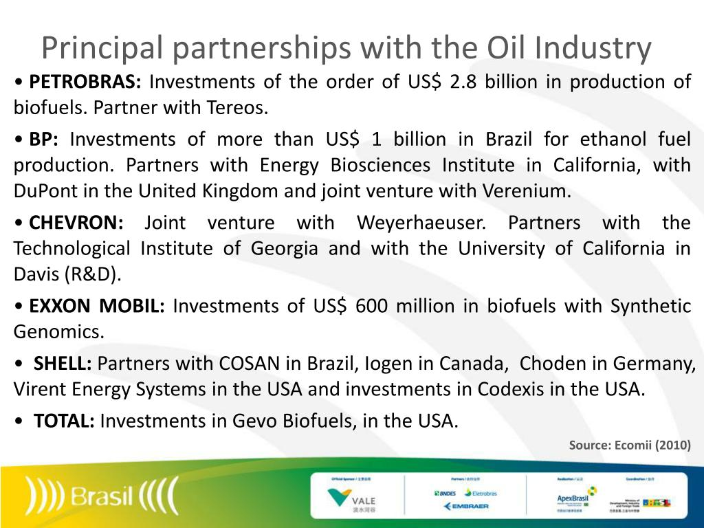 Principal partnerships with the Oil Industry