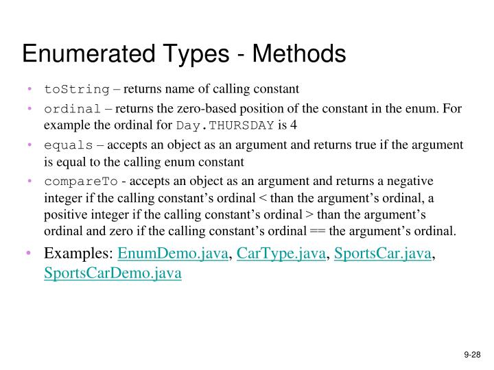 Enumerated Types - Methods