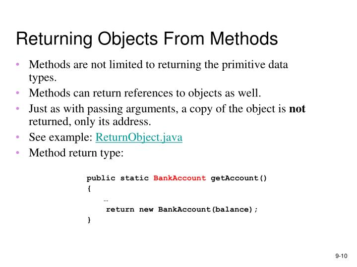 Returning Objects From Methods