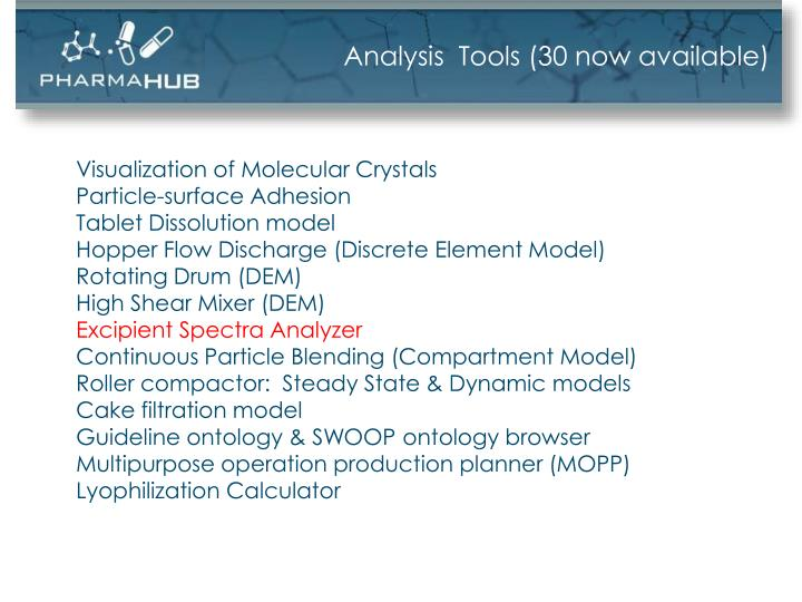 Analysis  Tools (30 now available)