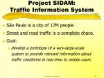 project sidam traffic information system